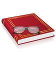 red book and glasses vector image