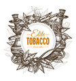 round posters with tobacco and smoking set vector image vector image