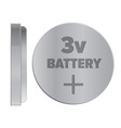 round silver 3v battery isolated vector image vector image