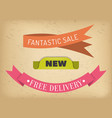 sale and free delivery ribbons special offer vector image