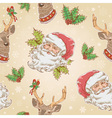 Santa Claus and Deer characters seamless pattern vector image