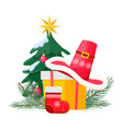 santa hat on giftbox near decorated christmas tree vector image vector image