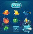 set cartoon items in underwater world vector image vector image