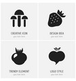 set of 4 editable berry icons includes symbols vector image vector image