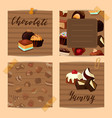 set of cute notes with cartoon chocolate vector image vector image