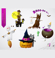 set of halloween theme cartoons vector image