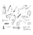 Set of hand drawn sketch arrows vector image vector image