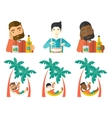 set of people eating and drinking vector image vector image