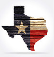texas tx state map shape rustic old wood flag vector image