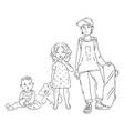three children of different vector image
