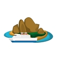 tropical island and boat or ship icon vector image vector image
