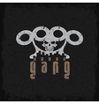 urban gang grunge emblem with brass knuckles and