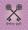 vintage crossed keys on purple background vector image