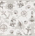vintage sea and marine seamless pattern vector image