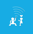 young couple having fun together with mobile phone vector image