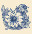 hand drawn doodle bird and flower vector image