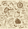 sketched breakfast seamless background with vector image