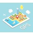 Flat map mobile GPS navigation Infographic 3d vector image