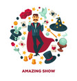 amazing show promotional poster with magician and vector image vector image