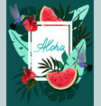 banner with tropical flowers palm leaves vector image
