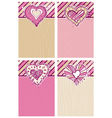 beige and pink background with hand draw hearts vector image vector image