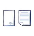 blank sheet paper with signature and document vector image vector image