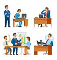 boss on seminar with workers meeting of people vector image vector image