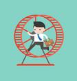 businessman running in hamster wheel vector image