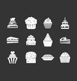cake icon set grey vector image