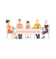 cartoon characters family at dining table vector image vector image