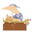 cartoon young joiner isolated vector image