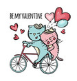 cats riding to valentine day cartoon vector image