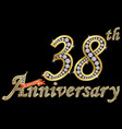 celebrating 38th anniversary golden sign vector image vector image