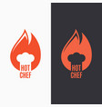 chef hat in fire flame logo on black and white vector image vector image