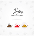chicken meat icon chicken dish on plate vector image