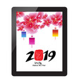 chinese new year with sakura blossom on tablet vector image vector image