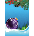 Christmas bauble on winter background vector image vector image