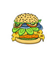 colored hand sketch hamburger vector image