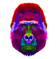 colorful gorilla on pop art style vector image vector image