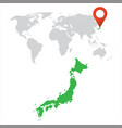 detailed map of japan and world map navigation vector image vector image