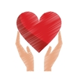drawing hands holds heart love care vector image vector image