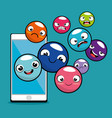 emoji emoticon character background collection vector image vector image