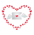 envelope with heart stamp and white angel wings vector image vector image