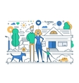 Family Life - line design composition vector image vector image