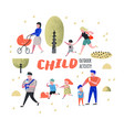 family outdoor activity parents walking children vector image