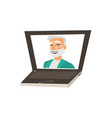 flat grey-haired doctor in laptop vector image vector image