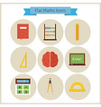 Flat School Maths and Physics Icons Set vector image vector image