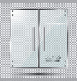 glass doors on transparent background vector image vector image