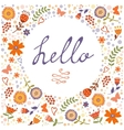 Hello card with decorative floral frame vector image vector image