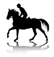 high quality silhouette young man riding horse vector image vector image